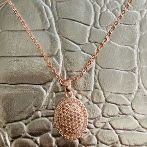 Rose gold plated pave necklace